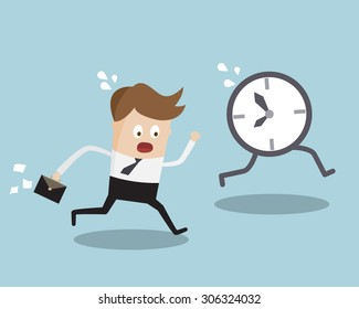 Business Concept, Businessman Running Follow Clock Late Work Time Cartoon Vector Illustration