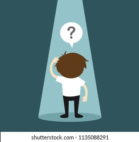 Business concept, Businessman standing alone in spotlight and feeling confused. Vector illustration.
