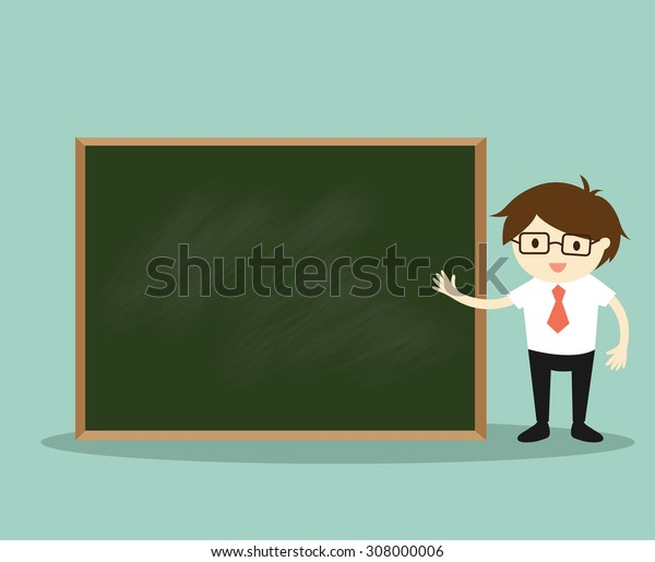 Business concept, Businessman standing in front of green chalkboard for presentation. Vector illustration.
