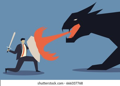 Business concept of businessman uses a shield to protect the dragon fire.