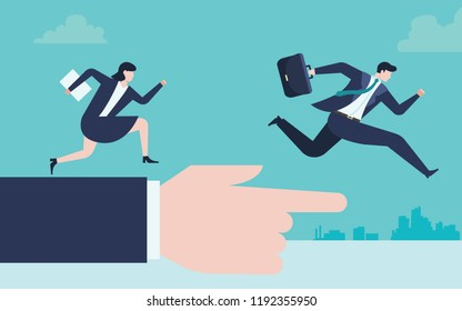 Business concept of businessman and business woman run to the goal and the fingers pointing at the target.