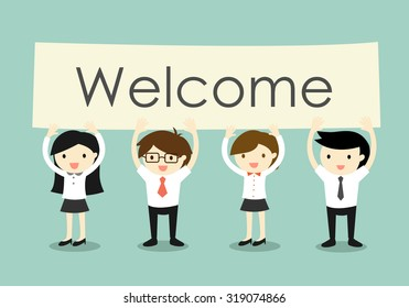 Business concept, Businessman and business women holding 'Welcome' signboard with green background. Vector illustration.
