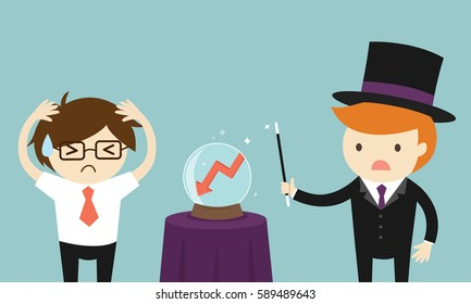 Business concept, Businessman worrying about business forecasting in a bad way. Vector illustration.