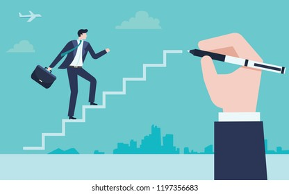 Business Concept of businessmen write a pathway to success.