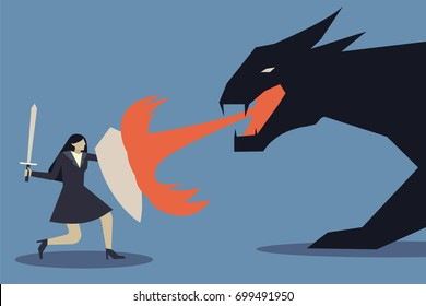 Business concept of businesswoman uses a shield to protect the dragon fire.