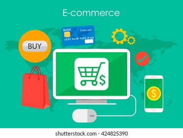Business concept, buying product via online shop and e-commerce ideas symbol and shopping elements.