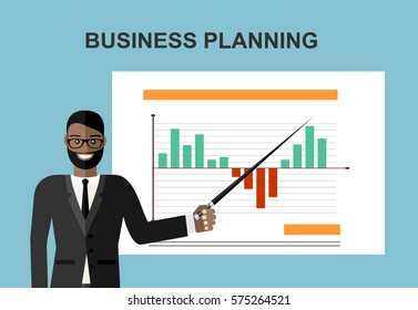 Business concept. Cartoon businessman making presentation explaining charts on a white board. Flat design, vector illustration.