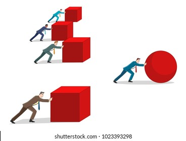 Business concept cartoon of a businessman pushing a sphere leading the race against a group of slower businessmen pushing boxes. Winning strategy, efficiency, innovation in business concept