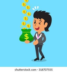 Business concept cartoon businesswoman earning money