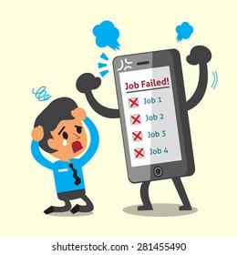 Business concept cartoon smartphone and businessman failed at their jobs