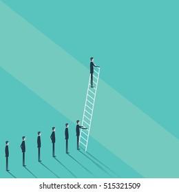 Business concept of challenge, problem solution. Businessman vector symbol climbing on corporate ladder. Eps10 vector illustration.