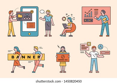 Business concept characters. flat design style minimal vector illustration.