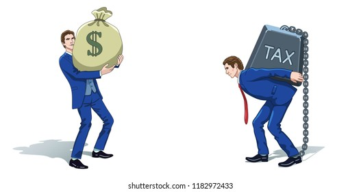 Business concept clipart. Businessman with money bag and carrying tax weight. Colorful cartoon characters. Vector illustration.
