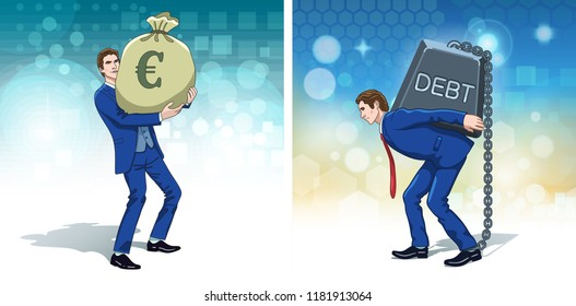 Business concept clipart. Business man with euro money. Businessman carrying debt weight. Colorful cartoon characters. Vector illustration.