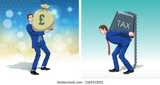Business concept clipart. Business man with money bag. Businessman carrying tax weight. Colorful cartoon characters. Vector illustration.