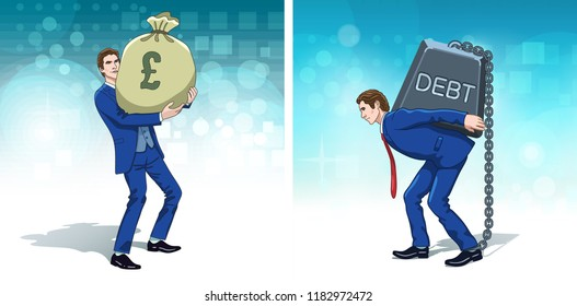 Business concept clipart. Business man with pounds money. Businessman carrying debt weight. Colorful cartoon characters. Vector illustration.