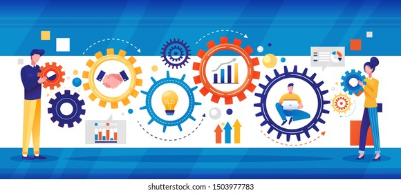 Business concept colorful panorama banner with businessman and woman flanking gear wheels with icons depicting a handshake, light bulb, analytical chart and e-businessman, vector illustration