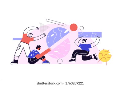 Business concept. Command metaphor. People juggling elements. Vector illustration of the style of flat design. Symbol of teamwork, collaboration, partnership.