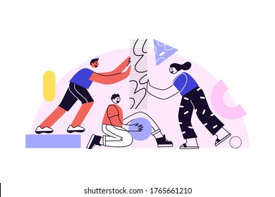 Business concept. Command metaphor. Team building. People juggling elements. Vector illustration of the style of flat design. Symbol of teamwork, collaboration, partnership.