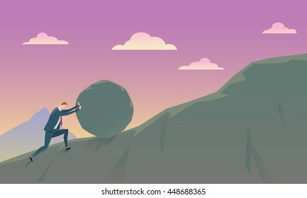 Business Concept of Conquering Adversity businessman pushing a rock uphill. Vector Illustration.