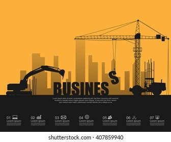 Business concept with construction machines,vector