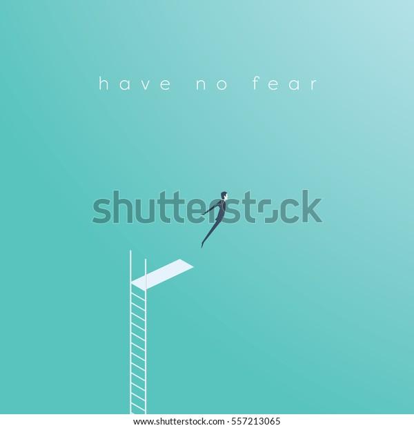 Concepto de negocio de coraje, desafío, toma de riesgos con ilustraciones vectoriales de empresarios saltando. Vector Ep10.