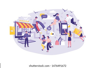 Business Concept Customer Journey, Planning, Support and Advertising. Group Managers Improves the Level of Service. Teamwork of Businessmen and Tourists. Cartoon flat Design, Isolated Vector