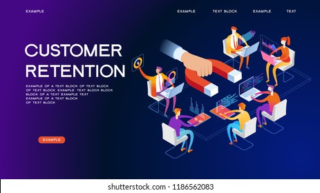 Business; concept. Customer support and service 3d isometric vector illustration. Banner with icons.