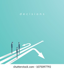 Business concept of decision and competition. Businessman standing on different arrows - symbol of decision, choice, career opportunities. Eps10 vector illustration.