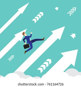 Business Concept Designed As A Businessman Is Running Upward In High Speed On White Arrows Among The Sky. He Is Straight To New Opportunity With Full Motivation, Attempt, And Encouragement.
