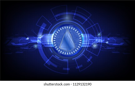 Business concept of Digital cryptocurrency EOS futuristic digital money and technology worldwide network. Abstract blue background technology. vector,illustration