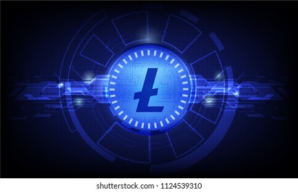 Business concept of Digital cryptocurrency litecoin futuristic digital money and technology worldwide network. Abstract blue background technology. vector,illustration