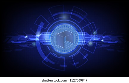 Business concept of Digital cryptocurrency NEO futuristic digital money and technology worldwide network. Abstract blue background technology. vector,illustration