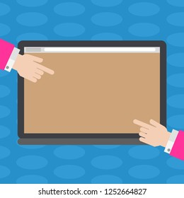 Business concept Empty template copy space isolated Posters coupons promotional material. Hu analysis Hands from Both Sides Pointing on a Blank Color Tablet Screen
