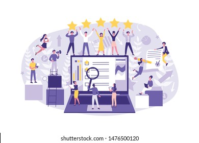 Business Concept Evaluations Leadership, Search, Analysis. Big well Coordinated Group of Clerks Perform their Job, Test, Signed Contract. Team Work of Businessmen at the Office. Cartoon flat Design