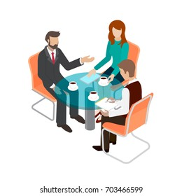 Business concept flat 3d isometric infographic vector. Group of people office staff at the round table talking.