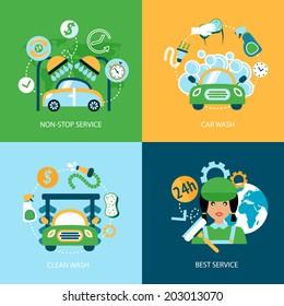 Business concept flat icons set of car wash best clean non stop auto service infographic design elements vector illustration