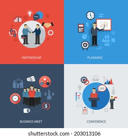 Business concept flat icons set of meeting partnership planning conference infographic design elements vector illustration