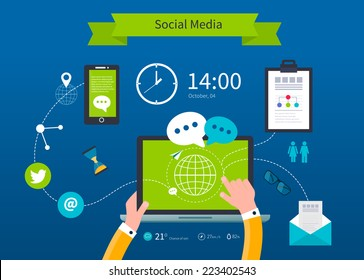 Business concept flat icons set of cloud computing analytic social media and creative process design elements vector illustration.