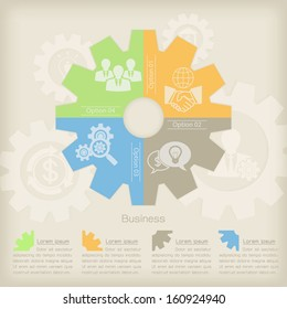 Business Concept Gear background with infographic and icon