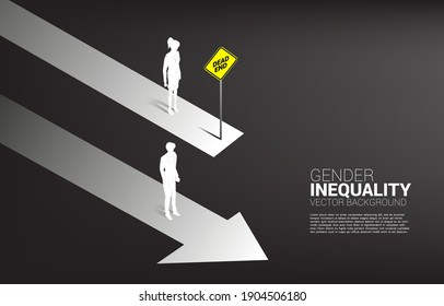 Business concept of gender competition. Silhouette of businessman on going track and business women on road block track .Concept of gender inequality in business and obstacle in woman career path