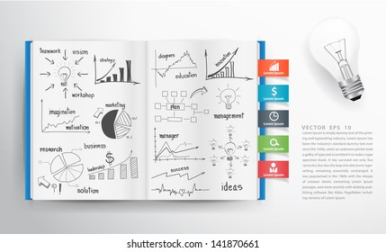Business concept and graph drawing on book, Vector illustration template design