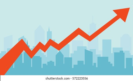 Business concept, growing chart on blue city silhouette banner