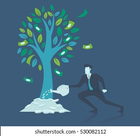 Business concept of growth.Businessman watering money tree