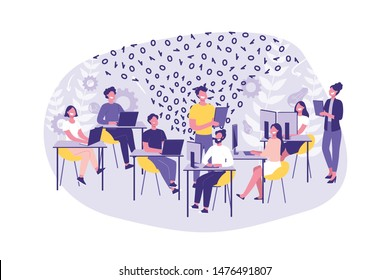 Business Concept Hackathon, Programming. Group of clerks or programmers do their job. Teamwork Hackers and Managers in the office. Cartoon Flat Design, Isolated Vector Illustration