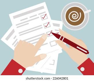 Business Concept Hand Check The Checklist Cartoon Vector