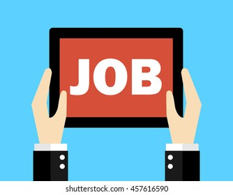 Business concept, Hand holding tablet with the word 'JOB'