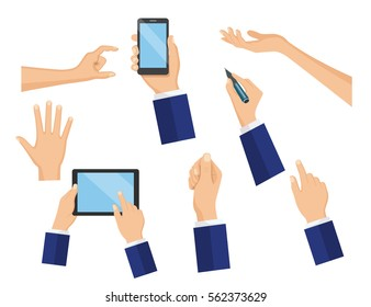 Business concept of hand in many characters, presenting, showing, using tablet and smart phone, writing. Hand flat vector design set.
