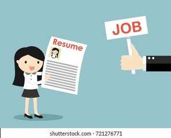 Business concept, Hand offers job to business woman. Vector illustration.