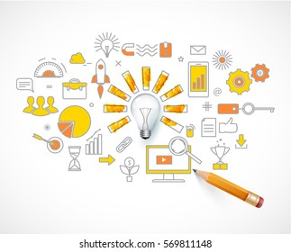 Business concept. idea  loading. light bulb